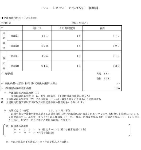 料金表(たちばなショート予防)H27.04-3